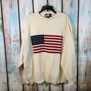 Stars and Stripes Heavy Cotton Sweater with American Flag XL